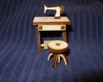 Miniature dollhouse furniture Tiny Treadle sewing machine