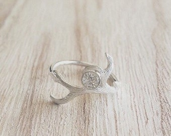 Antler and CZ ring, antler ring, antler jewelry, antler rings, antlers, sterling silver antler ring, antler and stone ring