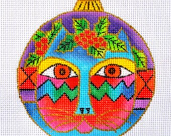 Needlepoint Handpainted Canvas CHRISTMAS Laurel Burch CAT Face Ornament -Free US Shipping!!!