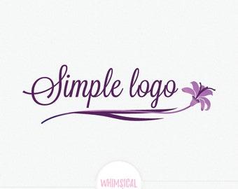 Elegant Iris--Premade Photography Logo and Watermark, Classic Elegant Script Font gold glitter Rose flower Calligraphy Logo