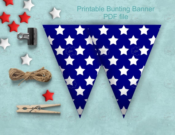 blue and white stars printable patriotic bunting banners for 4th July and patriotic holidays - download