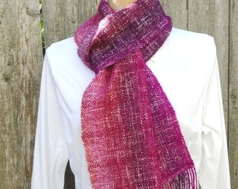 Scarf, Handwoven Scarf, Magenta, Fuchsia, and Pink