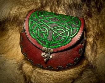 Leather Sporran Kilt Belt Bag - Celtic Pictish Viking Knotwork