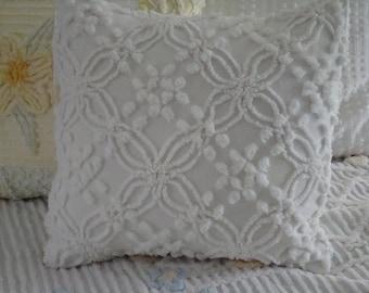 "Off White Vintage Chenille Pillow Cover for 16"" Pillow Insert"