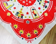 Rare Swedish retro vintage 1960s Inger Å design larger printed linen Christmas table-cloth with Christmas motives on light beige bottomcolor