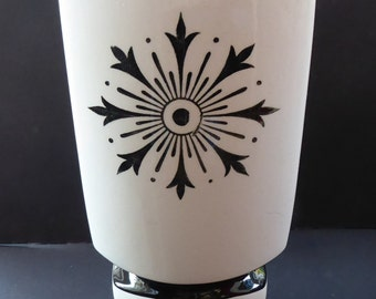 Very Unusual Tall 1960s BULFORD POTTERY Triangular Shaped Vase with Stylised Snowflake Motif
