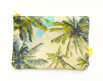 Palm Tree Pouch. Hawaii. Fabric Purse. Pencil Case. Sewing Kit. Makeup Pouch.