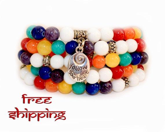 Japa Mala Bracelet 108 Jadeite and white Onix Gemstone 8mm Beads Prayer Yoga Necklace for Meditation and Mantra - free Shipping