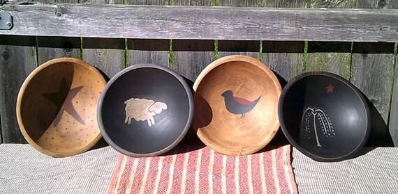Set of 4 Handpainted Primitive Vermont Maple Bowls