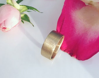 Brushed Wide Gold Wedding Band 14k Recycled Gold