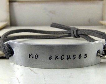 No Excuses Hand Stamped Bracelet, Fitness Bracelet, Custom Stamped Bracelet, Personalized Bracelet, Adjustable Bracelet, Leather Bracelet