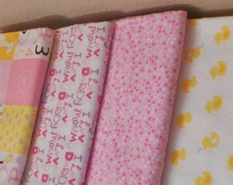 Set of 4 Swaddle/Receiving Blankets for Baby Girl (Swaddling Blanket)