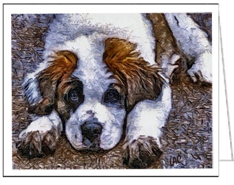 Saint Bernard 'SonTuc' Set of 6 Blank Notecards and Envelopes By Doggylips …