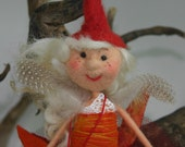 quirky unique  Felt art doll - fiber art fairy - original handmade  fairy-felted wool fairy-Fairy Emeelia