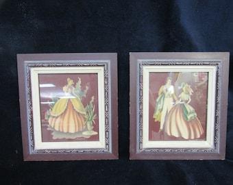 Turner framed prints mid century pair