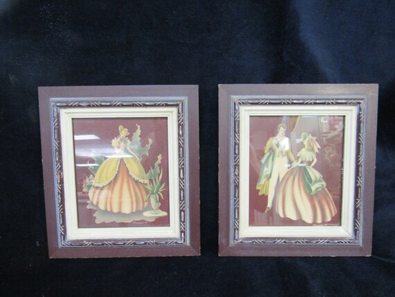 Turner framed prints mid century pair