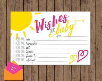 Baby Shower Wish Cards - Hope - PRINTABLE - Baby Sprinkle - You Are My Sunshine - Pink Yellow - INSTANT DOWNLOAD
