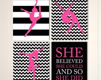 Dance wall art, dancer art, jazz dance, modern dance, ballet wall art, girls art, teen girl decor, set of 4