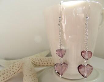 Swarovski Crystal Earrings, Swarovski Earrings, Antique Pink Love Heart Earrings, Double Chain Dangle Earrings, Sterling Silver Earrings