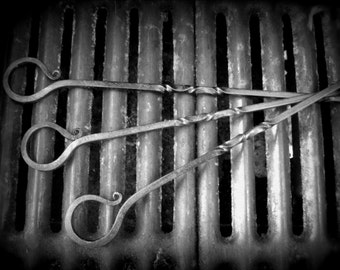 Meat Skewers Steel* Twisted Decorative Meat Vegetable Skewers Kabob * Hand Forged Grill Accessories Set * Blacksmith Made Adams * Gift Him