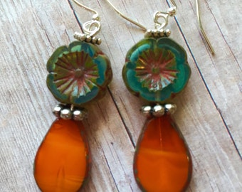 Orange drops & teal flower earrings