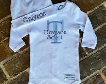 Baby boy onesie and hat with monogrammed name