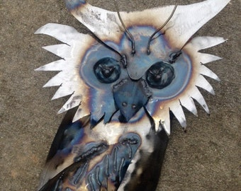 Horn owl wall art sculpture made from recycled steel, 3 dimensional wall sconce for the home