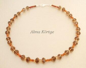 Necklace chain smoky quartz Hessonite