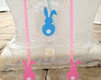 25 Plastic Easter Bunny Party Cups-12 oz