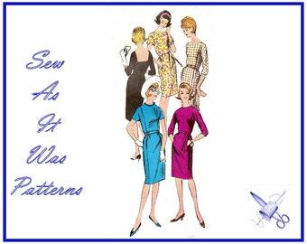 1960s Vogue 6005 Sheath Wiggle Dress Bateau Jewel Square Neckline Front Panel Pockets Tie Belt Vintage Sewing Pattern Size 14 Bust 34