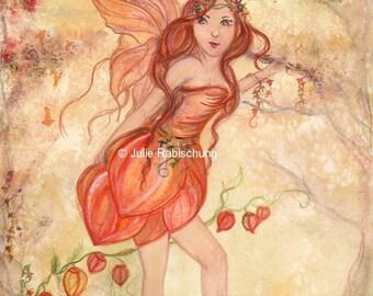 original art- fairy- fairy art- autumn fairy- watercolor- painting- watercolor painting- pumpkin- leaves- fairy wings- orange- red- brown