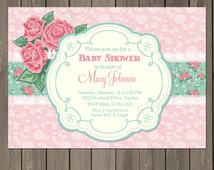 Rose Baby Shower Invitation, Pink Roses Shower Invitation,  Pink and Green Vintage Baby Shower Invitation, Lace Invite, Printable or Printed