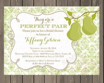 Perfect Pair Bridal Shower Invitation, Perfect Pair Shower Invitation, Green Damask invitation with Pears, Printable or Printed