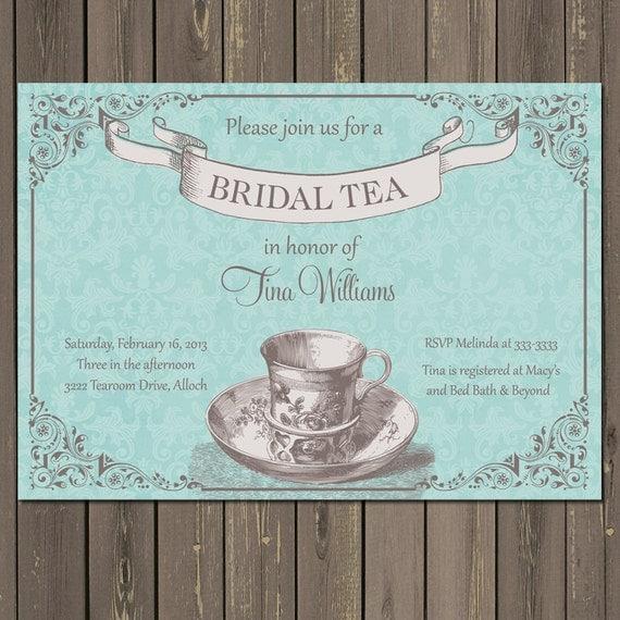 Tea Party Bridal Shower Invitation Blue Bridal Shower Tea – Bridal Shower Tea Party Invites