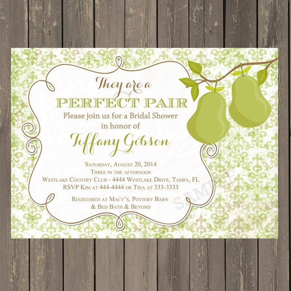 Perfect Pair Bridal Shower Invitation, Perfect Pair Shower Invitation, Green Damask invitation with Pears, Printable or Printed