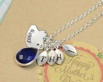 Necklace, family tree Mothers Necklace, mothers birthstone necklace, mom birthday gift mothers day gift , wife gift, grandma gift