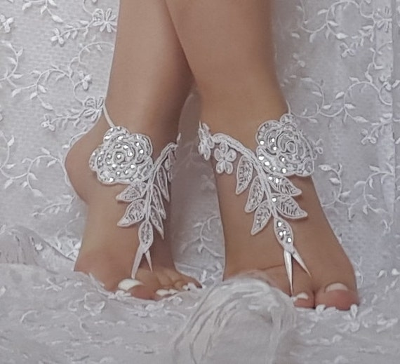 free ship  Beach wedding barefoot sandals, bangle, wedding anklet, anklet, bridal, bellydance, gothic bridal anklet, ivory lace sandals,