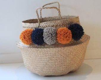 Large Thai basket brick orange PomPoms, Navy Blue and beige natural