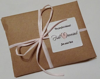 Specialty Coffee Wedding Favors in Kraft Paper Wraps - with Personalized Labels. Custom Favors. Freshly Roasted Coffee.