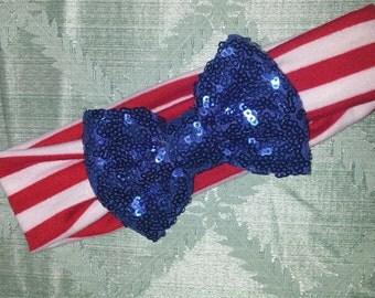 Patriotic Sequin Bow Wide Headband