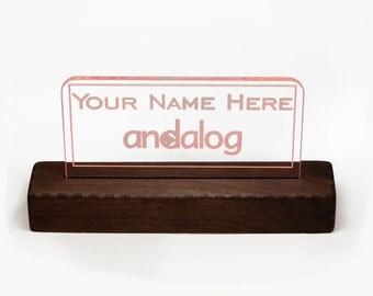 "150mm (~6"") Lit Acrylic Desktop Name Plate Bundle - Style A"