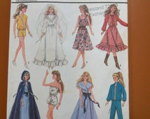 Simplicity 8333 Barbie Doll Clothing Wedding Gown Dress Pants Shirt Shorts Western Cape Vintage Sewing Pattern 1980s 80s