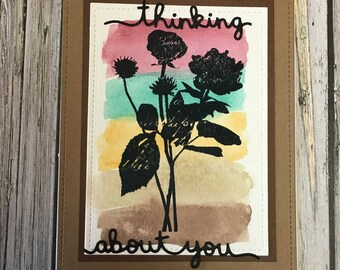 Thinking of you card-Sympathy card-Missing you card-watercolor background card-Handmade thinking of you card