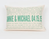 Wedding Vow or Song Lyric Pillow, Custom Pillow, Anniversary Cotton Gift, Wedding Gift, Housewarming Gift, Mother's Day Gift