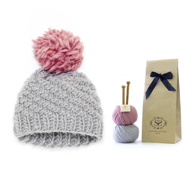 Beginner Knitting Kits Canada : Learn to knit luca pom hat knitting kit easy from