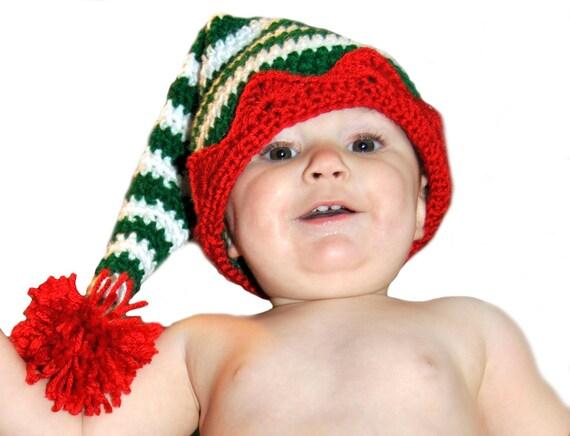 Christmas Crochet Elf Hat, Striped Santa Crochet Hat, Gnome Hat, Christmas Photo Prop, Newborn, Baby, Toddler, Kids Winter Hat, Boys, Girls