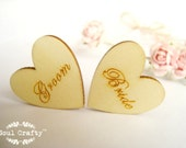 Bride Groom 3cm Engraved Wooden Hearts Confetti Wedding Decoration Bridal Shower Pack of 20 / 50 / 80 / 100