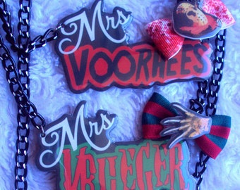 MADE TO ORDER, Mrs. Horror Necklaces, Jason Voorhees, Freddy Krueger, strange, unique