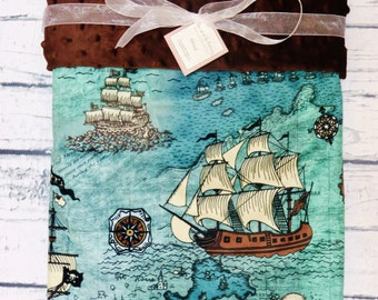 Personalized Pirate Minky Baby Blanket, Pirate Ship~Map Baby Blanket, Designer Minky Blanket
