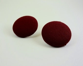 Solid Maroon Fabric Button Earrings